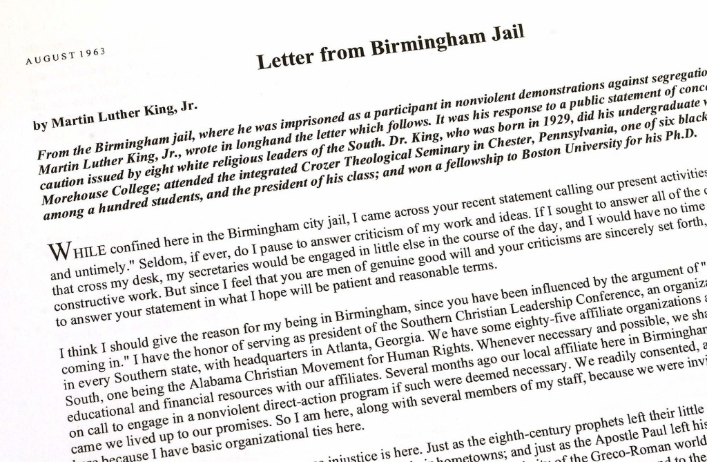 letter from a birmingham jail Letter from birmingham jail study guide contains a biography of martin luther king, jr, literature essays, quiz questions, major themes, characters, and a full summary and analysis.