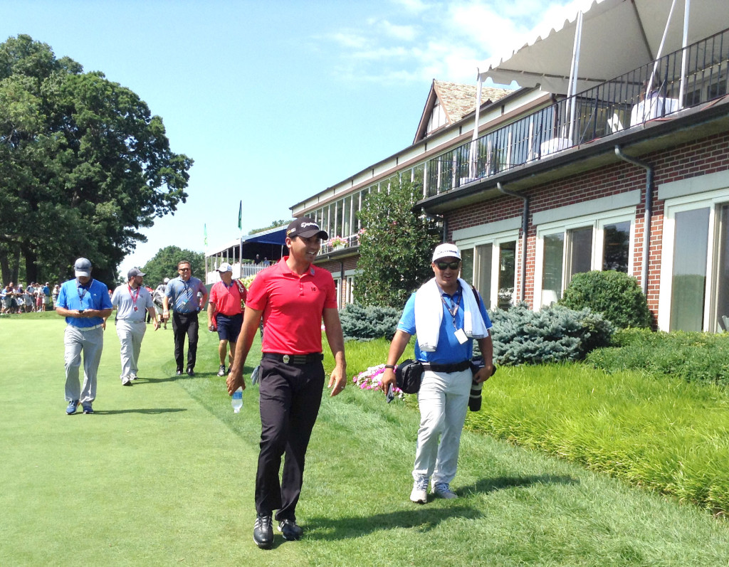 Jason Day on way to first and only practice round at the famed Baltusrol Golf Club.