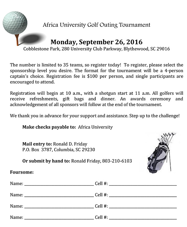 africa university golf outing