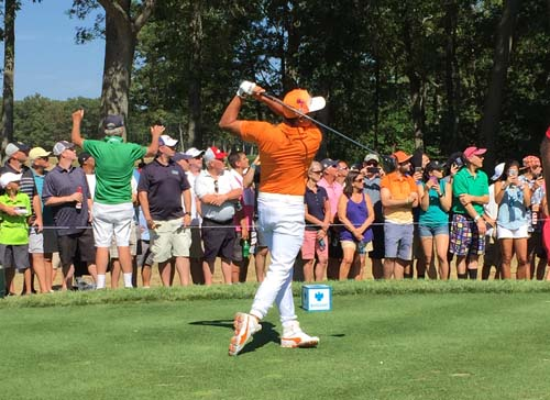 Rickie Fowler gets a shot off at hole #6 during The Barclays.