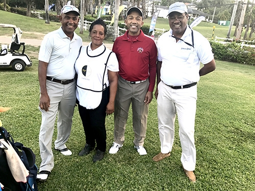 Derald Williams (amateur), Garnet Blake (caddie), Bertrand Bonnick (amateur), Nigel Davy (President, Constant Spring Golf Club, Kingston, and starter for the Jamaican Open)