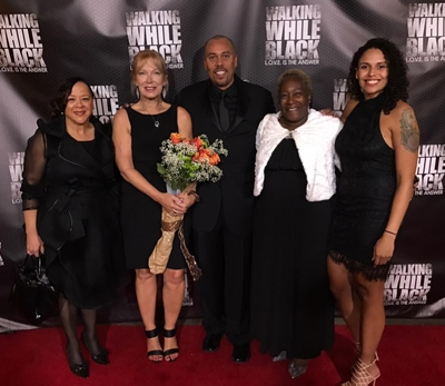 (L-R) Char Charlotte Bland, Jane Ali, A.J. Ali, Becky Lantry and Sierra Ali in Santa Monica, California