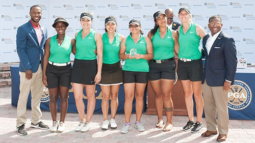 PORT ST. LUCIE, FL - MAY 14: Chicago State University, Women's third place winners during the Awards Presentation for the 2017 PGA Minority Collegiate Golf Championship held at PGA Golf Club on May 14, 2017 in Port St. Lucie, Florida. (Photo by Traci Edwards/PGA of America)