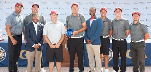 PORT ST. LUCIE, FL - MAY 14: Men's Divison II third place winners, Cal State-Dominguez Hills, during the Awards Presentation for the 2017 PGA Minority Collegiate Golf Championship held at PGA Golf Club on May 14, 2017 in Port St. Lucie, Florida. (Photo by Traci Edwards/PGA of America)