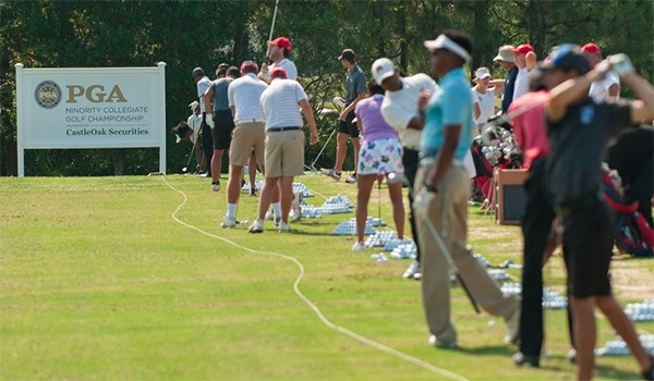 PORT ST. LUCIE, FL - MAY 11: Coaches and Players on the driving range during the 2017 PGA Minority Collegiate Golf Championship held at PGA Golf Club on May 11, 2017 in Port St. Lucie, Florida. (Photo by Montana Pritchard/PGA of America)
