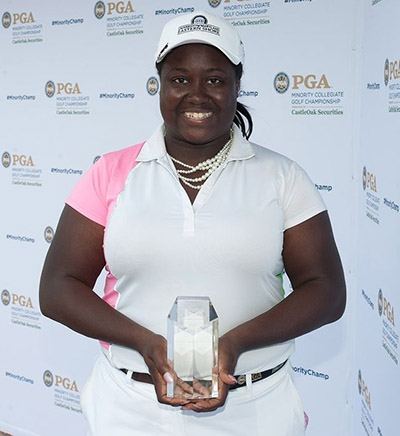 PORT ST. LUCIE, FL - MAY 14: Tiana Jones of Maryland Eastern Shores winner of the Women's Individual during the Awards Presentation for the 2017 PGA Minority Collegiate Golf Championship held at PGA Golf Club on May 14, 2017 in Port St. Lucie, Florida. (Photo by Traci Edwards/PGA of America)