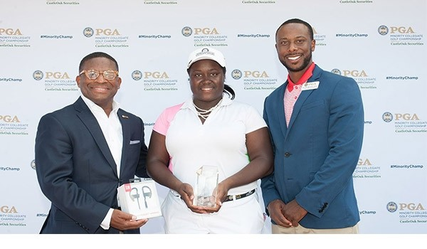 Tiana Jones of Maryland Eastern Shores with Anthony Stepney and Kendall Murphy during the Awards Presentation for the 2017 PGA Minority Collegiate Golf Championship held at PGA Golf Club on May 14, 2017 in Port St. Lucie, Florida. (Photo by Traci Edwards/PGA of America)