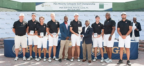 PORT ST. LUCIE, FL - MAY 14: Winners of the Men's Division I, Bethune-Cookman Universitiy, during the Awards Presentation for the 2017 PGA Minority Collegiate Golf Championship held at PGA Golf Club on May 14, 2017 in Port St. Lucie, Florida. (Photo by Traci Edwards/PGA of America)
