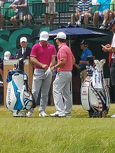 Paul Casey and Brian Harmon on first tee.