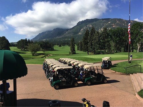 East Course #18 Green and cart staging at The Broadmoor.