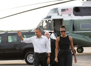 In this file photo from 2015, President Barack Obama and First Lady Michelle Obama arrive on Martha's Vineyard by helicopter. — Michael Cummo