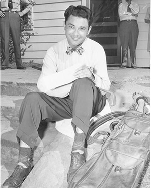 George Schneiter Sr. relaxes while competing in the Colonial tournament in 1946. He played against golf legends Ben Hogan, Sam Snead and Byron Nelson. Schneiter started working for the PGA shortly after that, which brought him to Montana and establishment of Lake Hills Golf Club. - PGA Hall of Fame Class of 2017