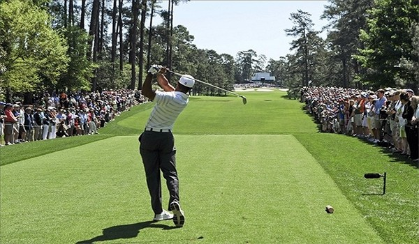 former world number one golfer Tiger Woods plays at the Masters