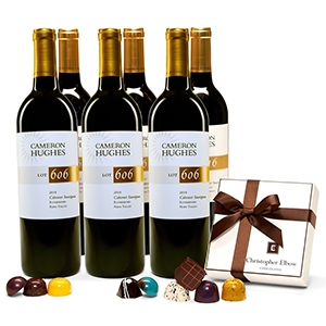 THE SPLURGE + CHOCOLATE A delectable assortment of 9 gourmet artisan chocolates paired with six bottles of our pinnacle Napa Valley Cabernet. Treat a special someone to a decadent experience they won't forget! $198