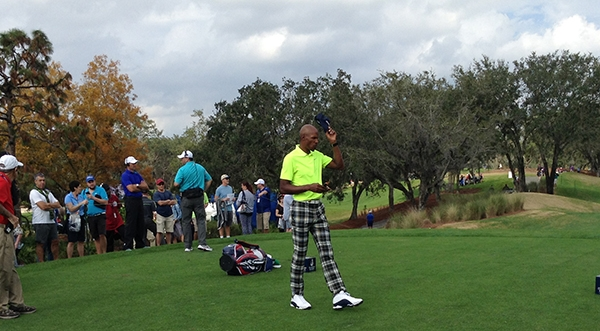 Basketball Hall of Famer Ray Allen tips hat to crowd on the 10th tee box at Diamond Resorts International