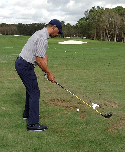 Heisman Trophy winner and NFL Hall of Famer Marcus Allen on practice tee at Diamond Resorts International for Friday's round.