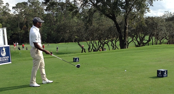 NFL standout Patrick Peterson sizing up his tee shot on No. 17 at Diamond Resorts International Charity Event on Friday, Jan. 12th.